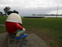 Humpty Dumpty sat on a wall, looking longingly out to the bay